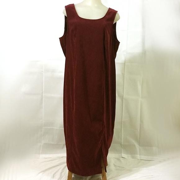 VTG 90s Plus Size Maroon Velvet Maxi Tank Dress
